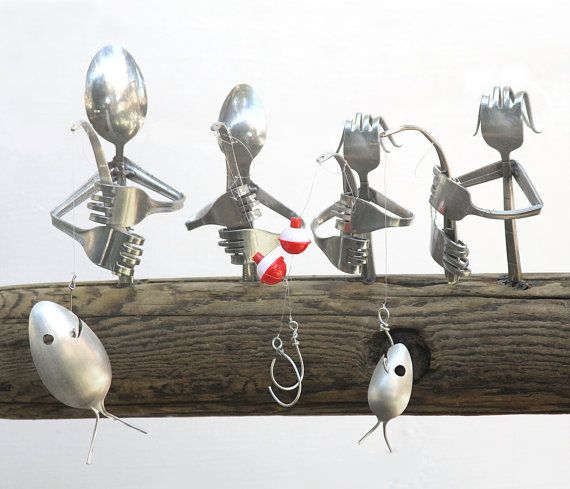 Customizable flatware family of 4 fishing / spoon fish windchime. Great gift idea for any lake loving family
