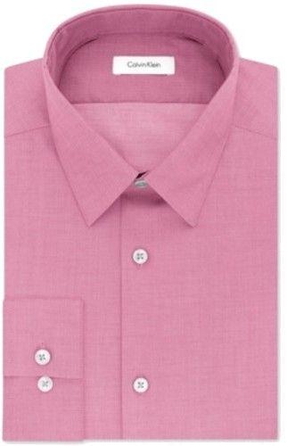 Calvin Klein Primrose Pink Mens 15 Slim Fit Performance Dress Shirt