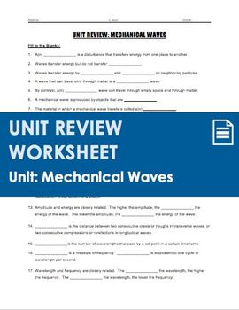 Unit Review - Mechanical Waves