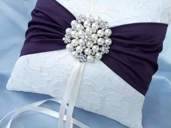 ivory dark purple ring bearer pillow lace eggplant ring pillow pearl rhinestone accent - Wedding Ring Pillow