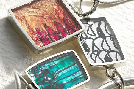Silver and resin earrings, necklace and pendant
