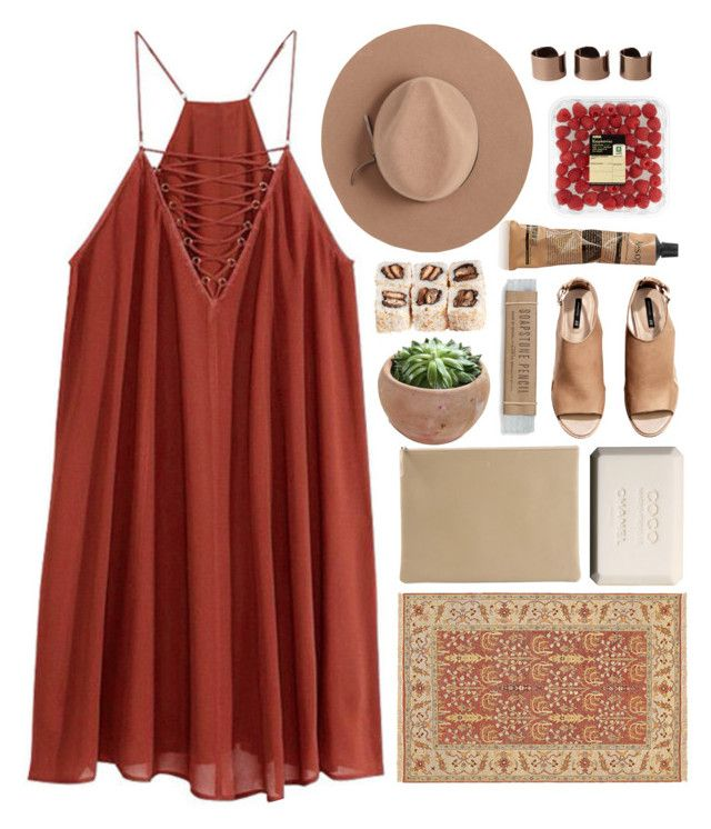 """rust"" by anastazia-jae ❤ liked on Polyvore featuring Calypso Private Label, Arts & Science, Chanel, H&M, Aesop and Maison Margiela"