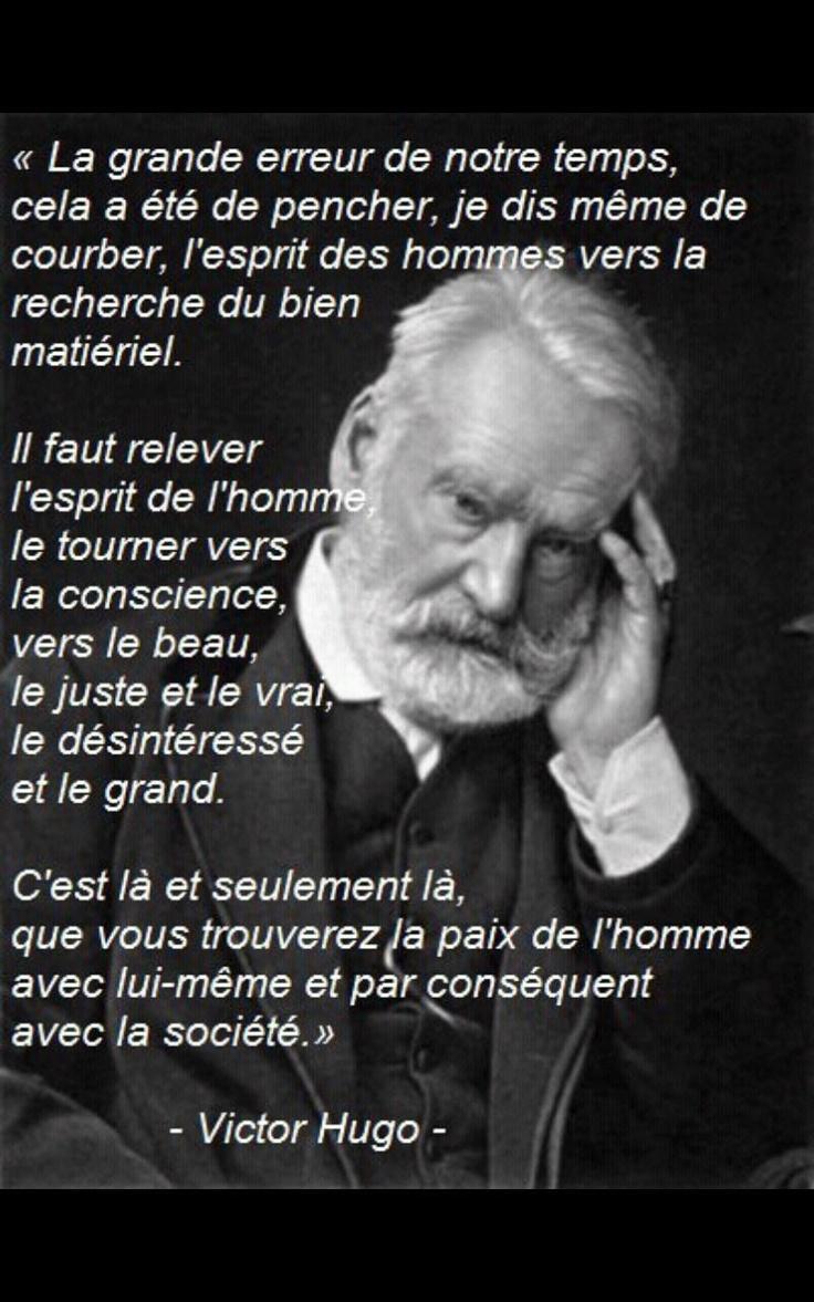 Victor Hugo, grand écrivains français du XIXème siècle; Les Misérables, La Légende des Siècles....