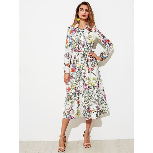 SheIn(sheinside) Botanical Print Self Belted Shirt Dress (97 RON) ❤ liked on Polyvore featuring dresses, long sleeve dress, maxi shirt dresses, long-sleeve shirt dresses, white a line dress and long-sleeve floral dresses