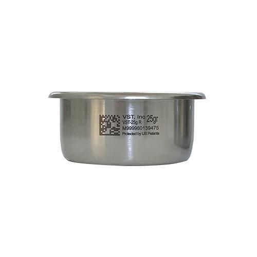 The 58mm Portafilter VST Precision 25gram Triple Filter Basket is available in Standard and Ridgeless Versions, the new VST Precision FIlter Basket holds 25 grams and is VST's largest filter basket.  The 25gram basket has a height of 30mm, and a dosing capacity of 24-26grams.