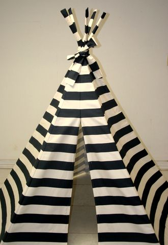 classic + bohemian chic = black and white striped tee pee: Tees, Stripes Teep, Kids Spaces, Interiors Design, Plays Tent, Black White, Teepees, Playrooms, Kids Rooms