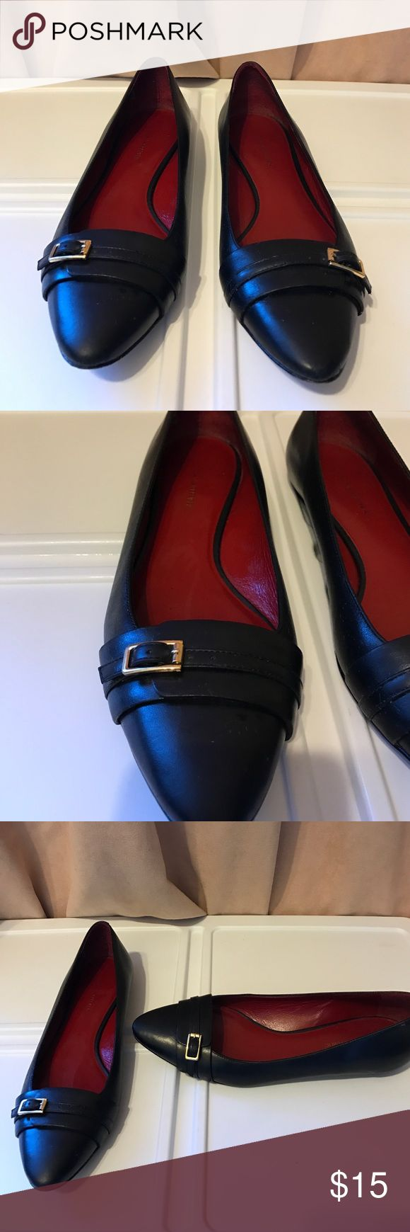 Black leather flats Banana Republic black leather flats with red insole.  Italian leather, size 7 Banana Republic Shoes Flats & Loafers