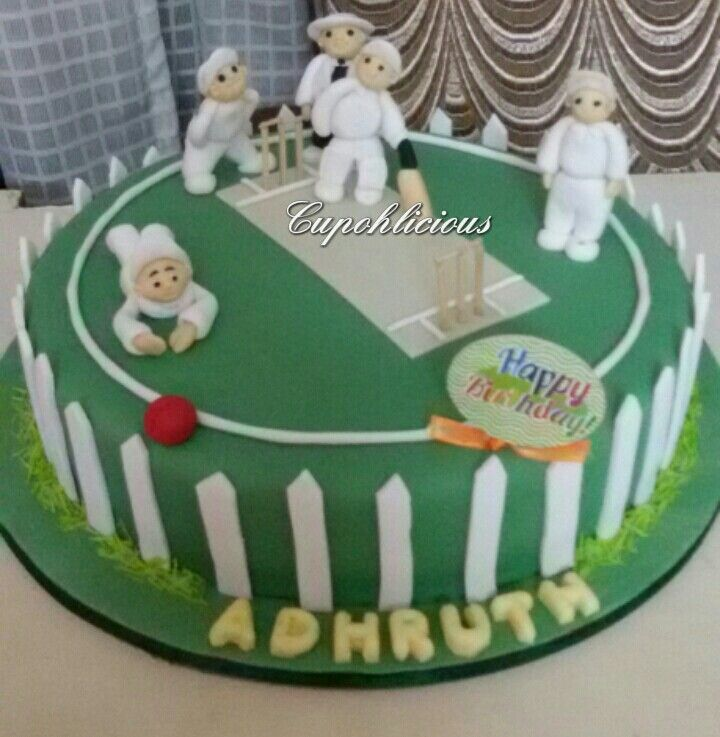 A moist chocolate cricket themed cake for lil cricket fan on his birthday. All edible handmade sugar players.