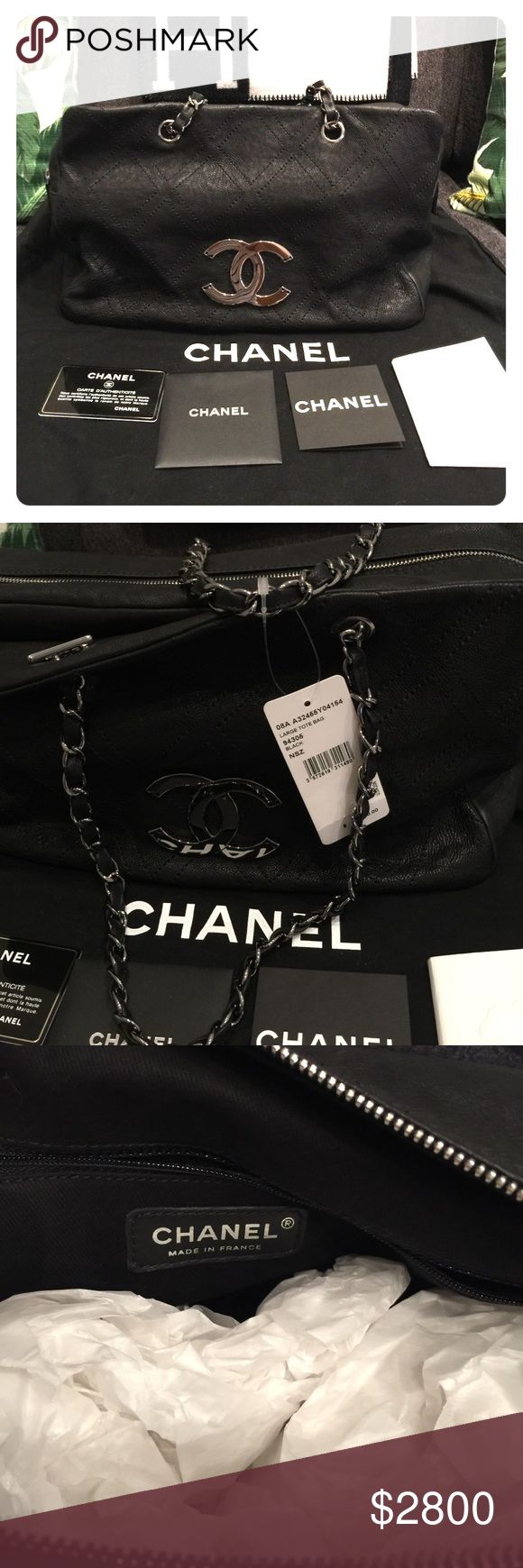 Chanel large tote bag New condition with original tag.  Never been used.  Has been in my closet for years.  Comes with authenticity card and dust bag.  No box.  Have original receipt but the prints faded ovwr time.  Purchased at South Coast Plaza in Costa Mesa. CHANEL Bags Shoulder Bags