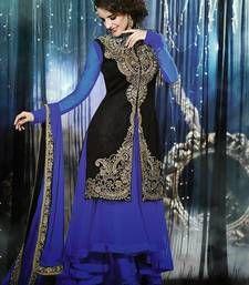 Buy Blue embroidered net semi-stitched salwar with dupatta anarkali-salwar-kameez online