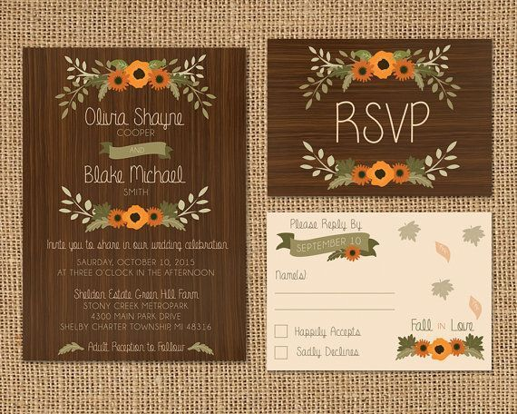 20 perfect fall wedding invitations rustic country - Country Rustic Wedding Invitations