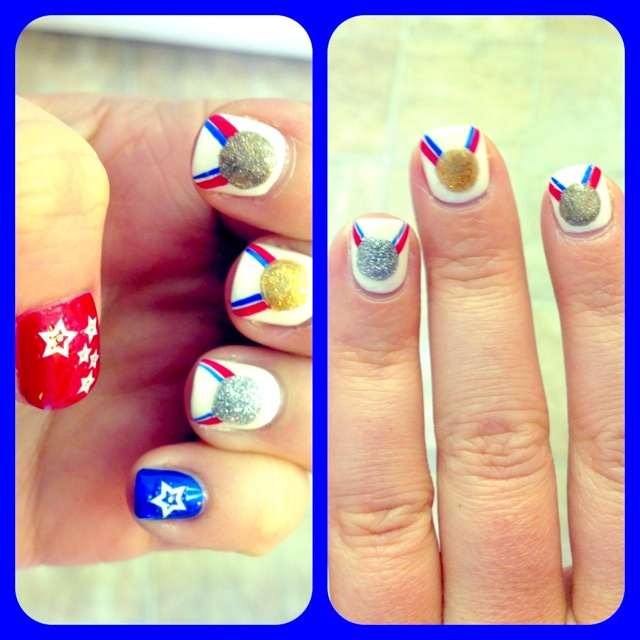 Olympic themed nails!: Girl, Nailart, Olympics, Art Design, The Beauty Department, Nails, Olympic Nail, Nail Art, Olympic Medal