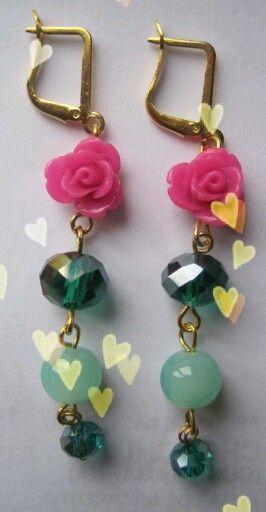 Aretes jardin de rosas Mar Accesorios ♥ cristal y resina gancho español oro…