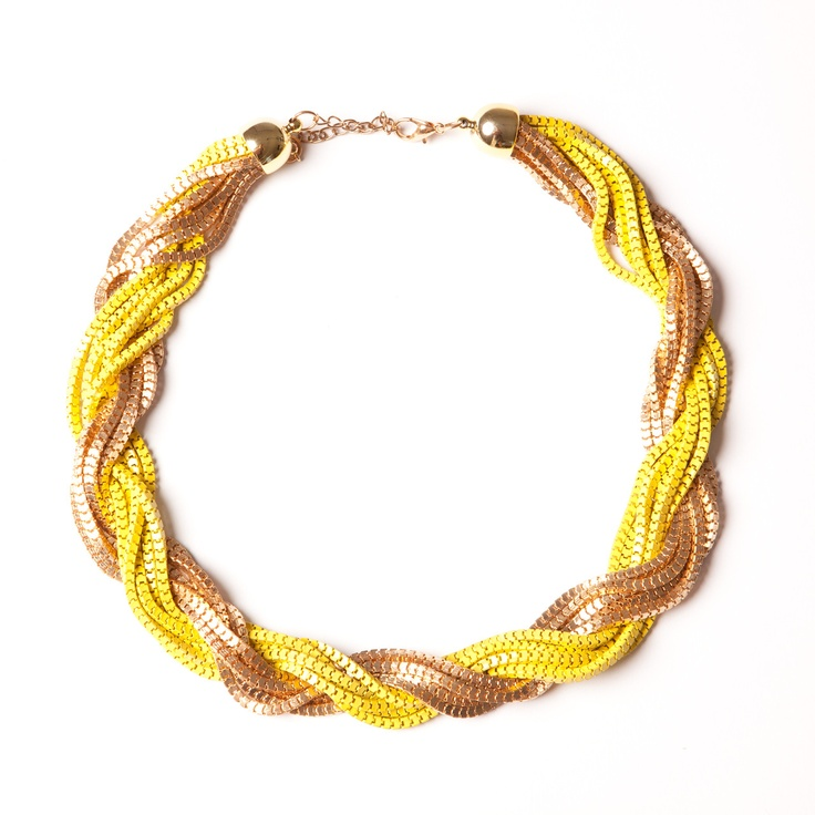 Yellow and gold twist necklace.