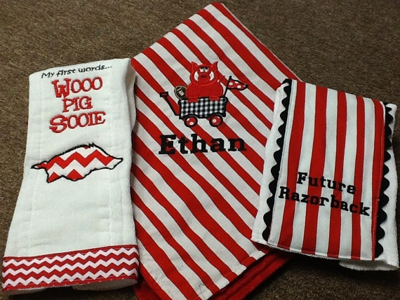 Razorback baby blanket with burp cloths by SewSewPersonalized, $42.00