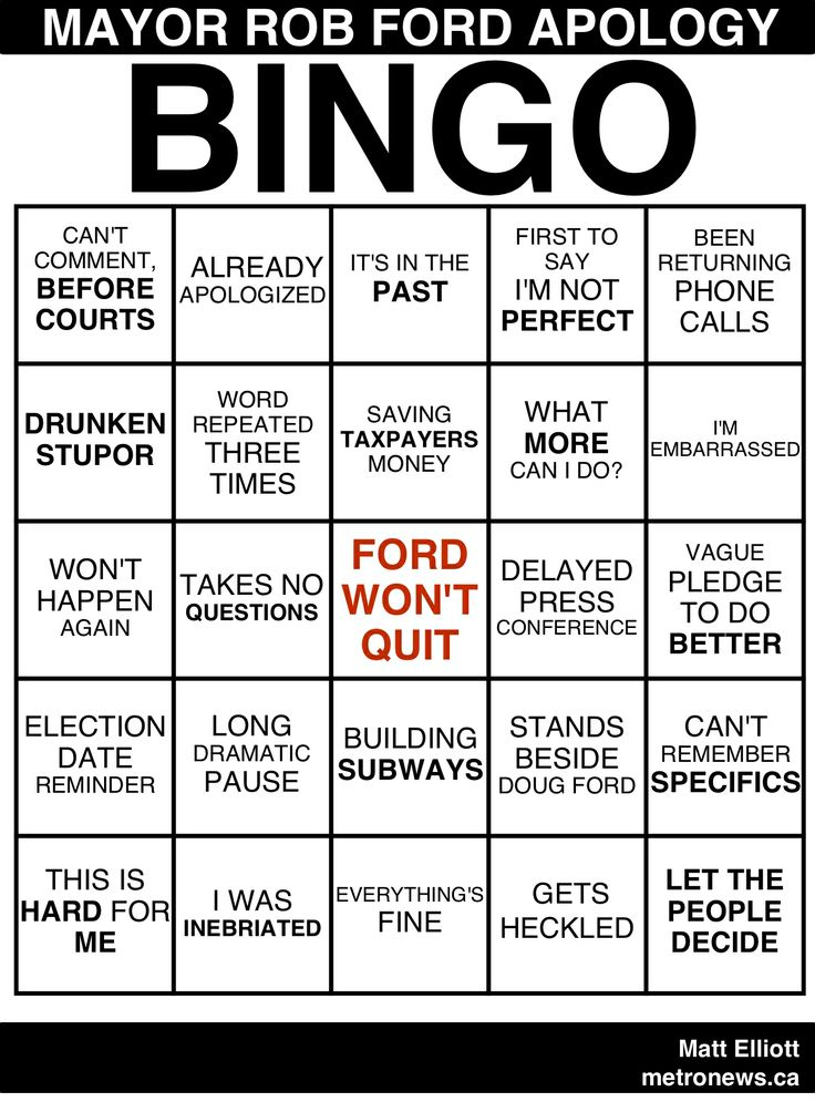 Toronto Mayor Rob Ford Apology Bingo