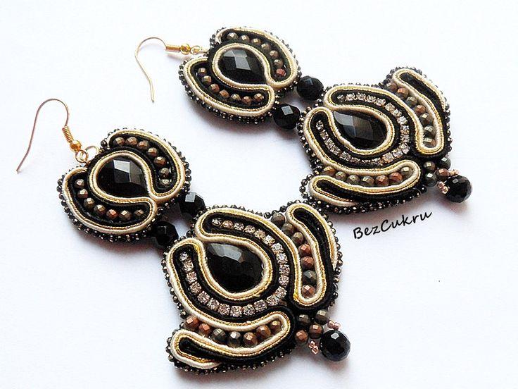 Kolczyki Lady Million - sutasz, soutache w BezCukru - biżuteria z charakterem na DaWanda.com