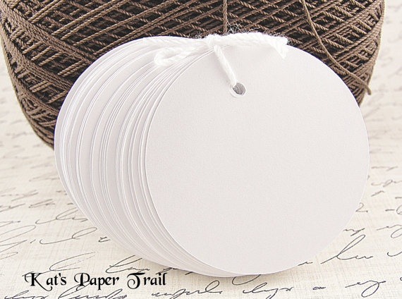 "50 White CirclesTags, Wedding Favor Tags, Place Cards, Table Number Cards, Gift Tags 2"". $5.75, via Etsy."