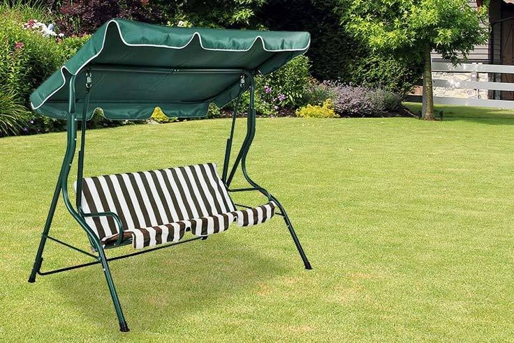 3-Seater Garden Swing Bench deal in Sheds & Garden Furniture Get a 3-seater garden swing bench.  In a green and cream striped design.  Strong, durable steel frame.  Seat material is made from polyester.  Perfect for relaxing in your garden!  Measures 110cm x 170cm x 153cm. BUY NOW for just £49.00 Check more at http://nationaldeal.co.uk/3-seater-garden-swing-bench-deal-in-sheds-garden-furniture/