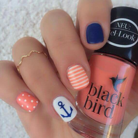 Summer nails. Love the blue and peach combo
