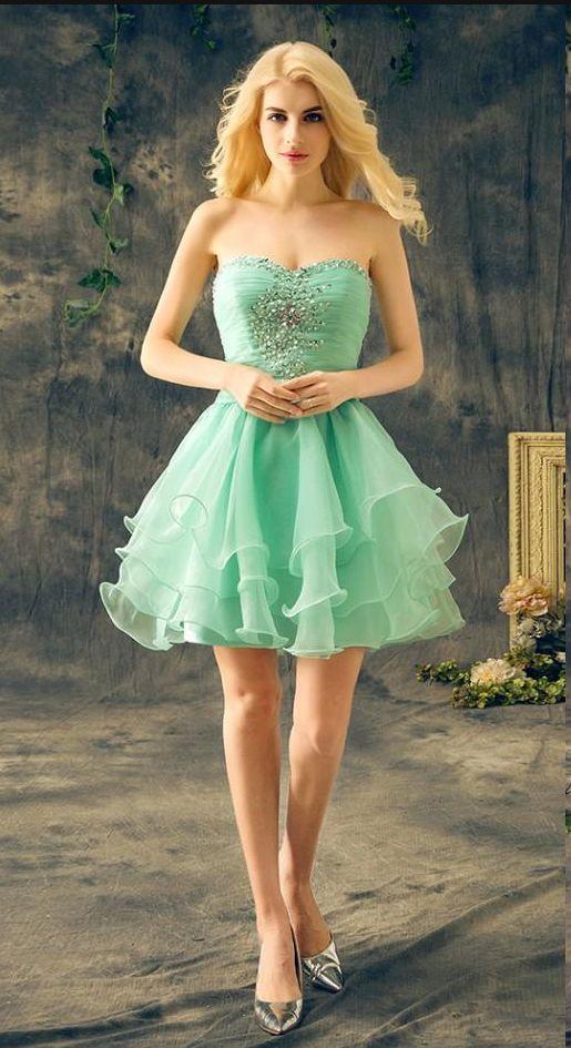 Mint Green Short Homecoming Dresses Sweetheart Sleeveless Crystal Beaded Ruffles Chiffon Cheap Real Cocktail Party Dresses