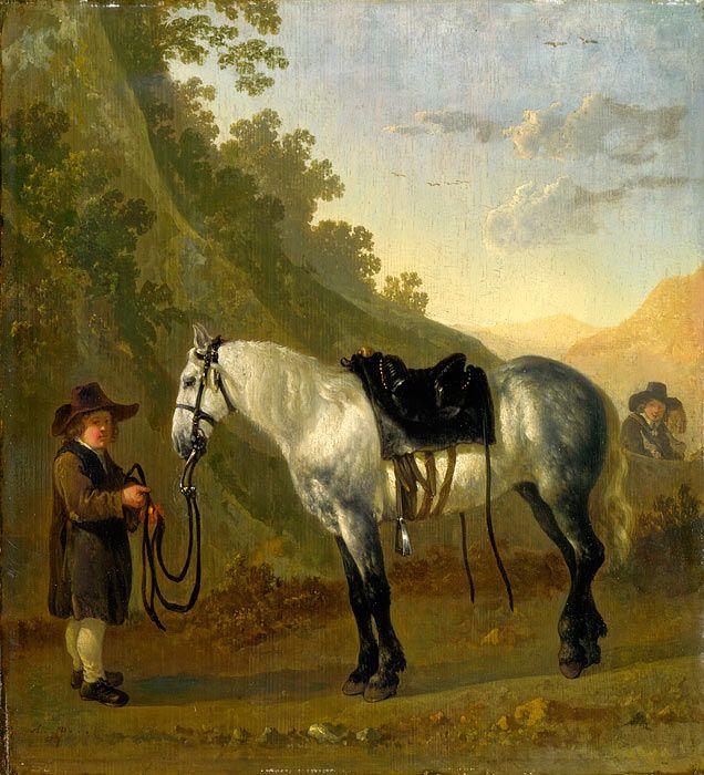 Abraham van Calraet (1642 - 1722). Мальчик проводит Серую Лошадь. 1670-1722. Лондонская национальная галерея
