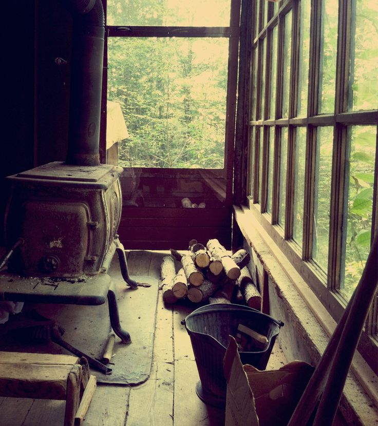 home-sweet-homestead:  Neighbors old off grid cabin. Look at those windows!! They are from an old storefront. LOVE.