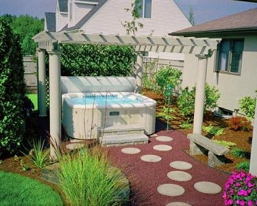 stepping stones out to the hot tub backyard - Hot Tub Patio Designs