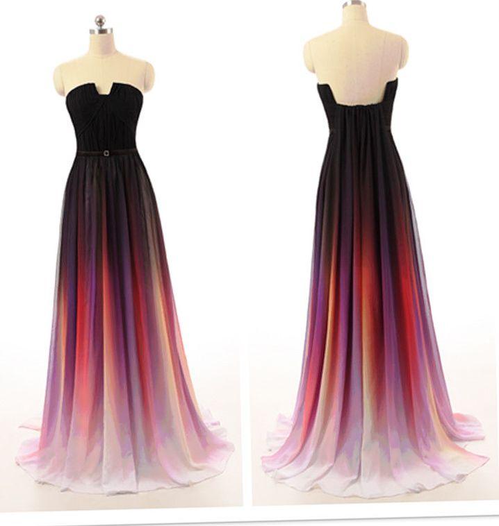 Ombre prom dresses, chiffon prom dresses, long prom dresses, Unique prom dresses,  prom dresses, prom dress online