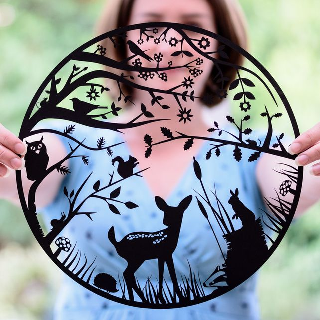 Woodland - Mounted Paper Cut by Shop Paper Scissors