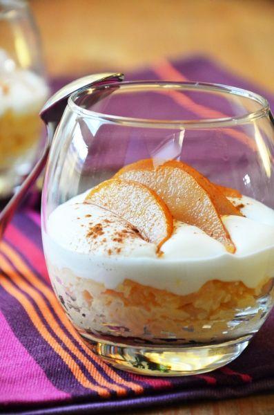 Fahéjas rizspuding körtével és mascarponehabbal  Tipikus Flammeres: Rizspudingból csak keveset