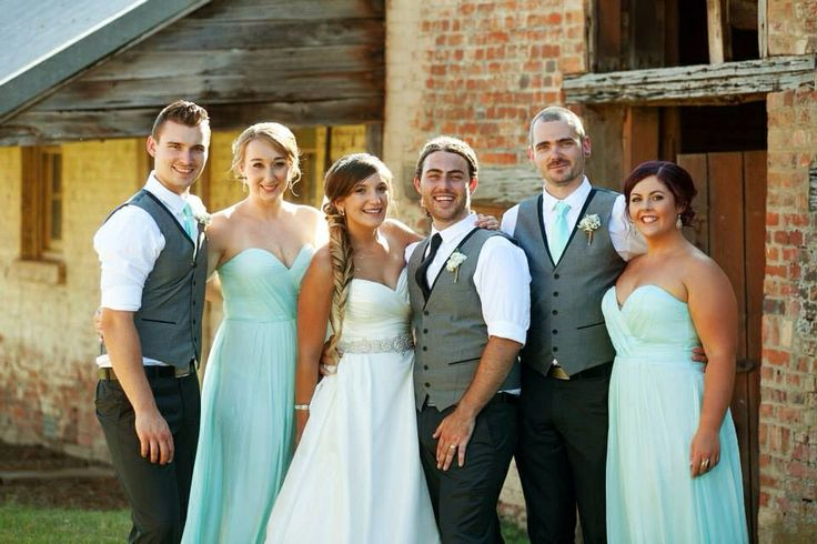 Bridal party. Grey and mint