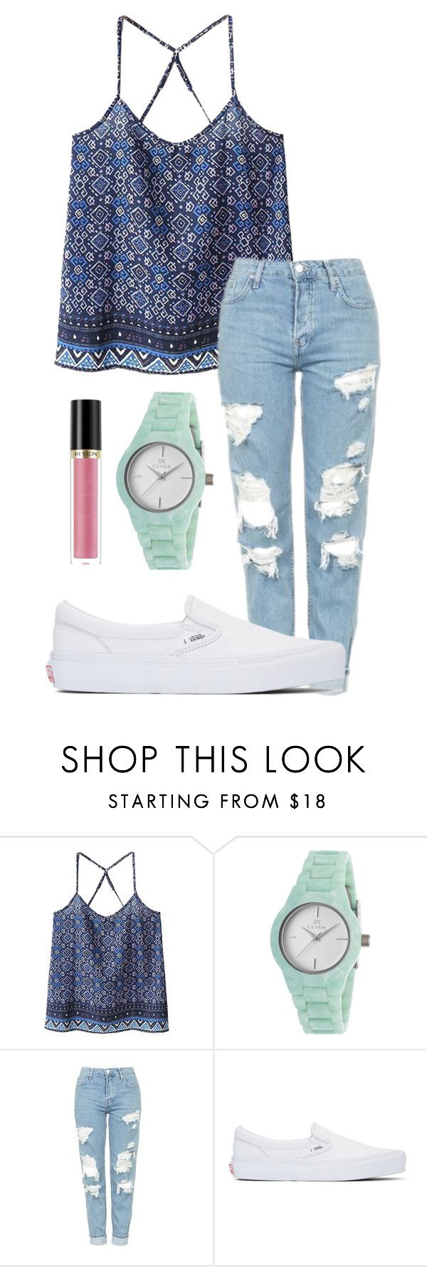"""Spring."" by annayalee-gerber ❤ liked on Polyvore featuring WithChic, Clyda, Topshop, Vans and Revlon"