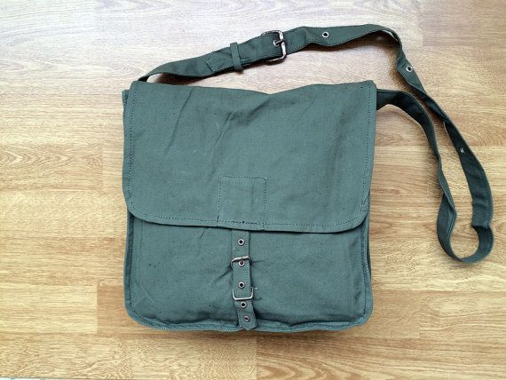 Vintage canvas bag NEVER USED Messenger bag Military bag Crossbody bag Everyday bag Unisex bag Mens bag Womens bag Gift for him Gift for her