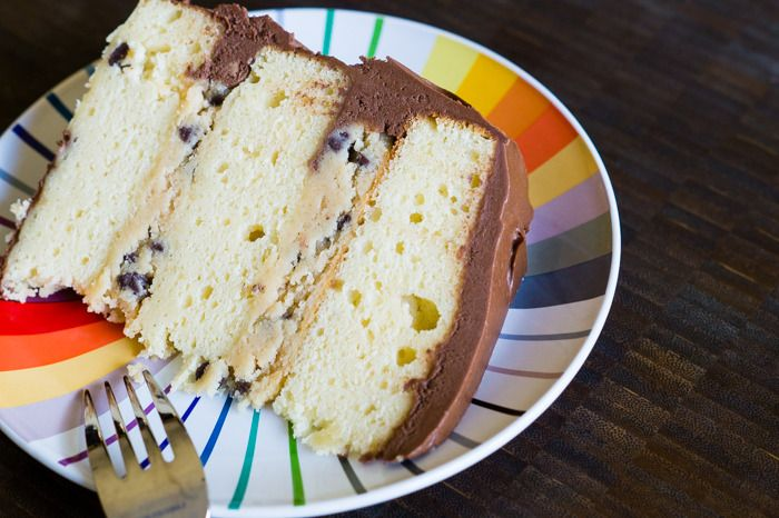 17: Yellow Cake with Cookie Dough Filling and Fudge Frosting | Fudge ...