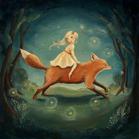 Rêve d'animaux Fox fille imprimé par Emily Winfield Martin