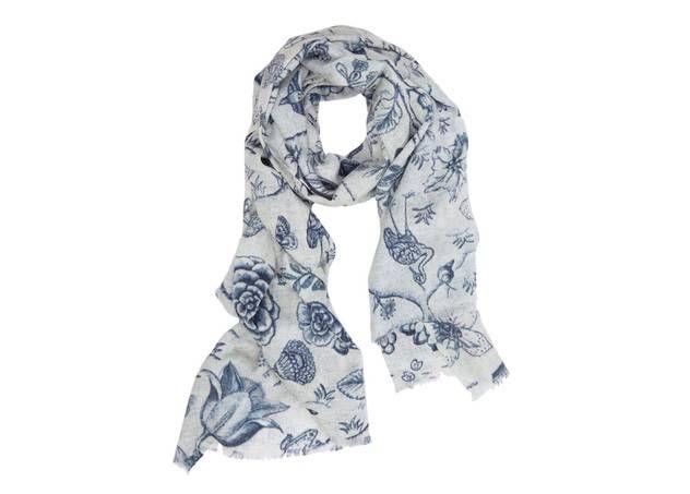 Wollen sjaal in blauw van Pip Studio met exotische bloemen en vogels :: Le Goût des Couleurs producten - Webshop