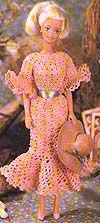 FREE crochet pattern for a Barbie Picnic Dress by Jennifer Down Under.