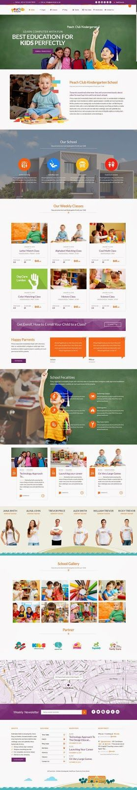 PeachClub Beautiful #Kindergarten ChildCare WordPress Theme #website #design