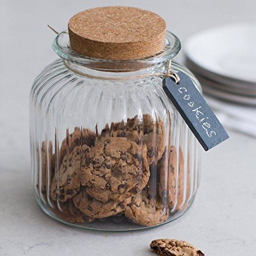 Beautiful Glass Cookie Jar That Can Sit On A Kitchen Top Filled With An Array Of Delicious Treats To Have With A Cup Of Tea As Cork Lid Glass Cookie Jars