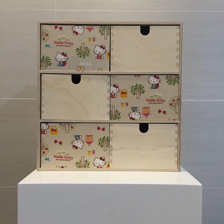 Drawer unit designed with original sanrio hello kitty fabric  fleurdelis.tictail.com