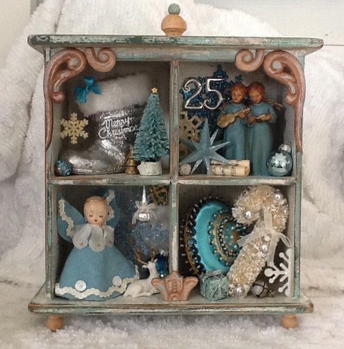 Vintage Christmas shadow box diorama miniature santa shabby chic reindeer angel