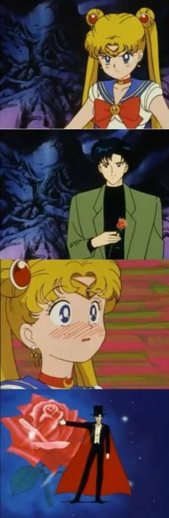 Sailor Moon: Ugh, Tuxedo Mask? Give me a break. He's not even here, Zoisite! Darien: Yes I am! Sailor Moon: No way! Darien: I am Tuxedo Mask! Sailor Moon: You are? Darien: Mhmm *pulls out rose* Sailor Moon: He is Tuxedo Mask. I can't believe it.