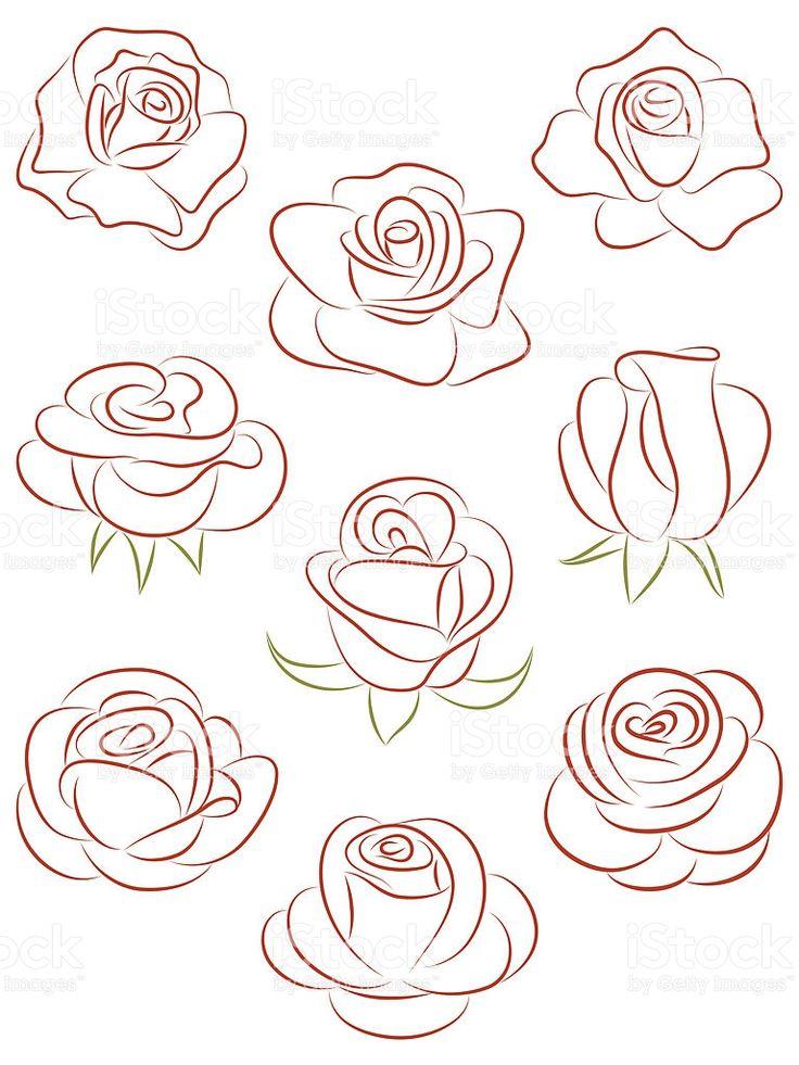 Set di rose. Illustrazione vettoriale. illustrazione royalty-free
