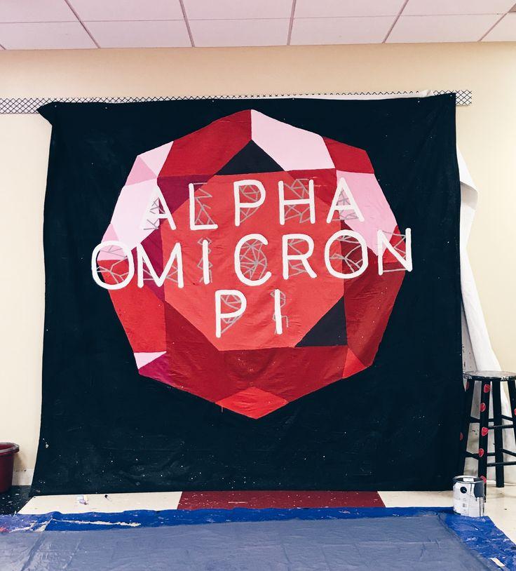 sorority banner ideas - preference round banner - pref banner - recruitment banner - rush banners - ruby print - ruby painting - sorority recruitment - alpha omicron pi - university of arkansas - pr banners