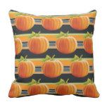 Happy Fall Yall Pumpkins On Fun Stripes Pattern Outdoor Pillow #thanksgiving