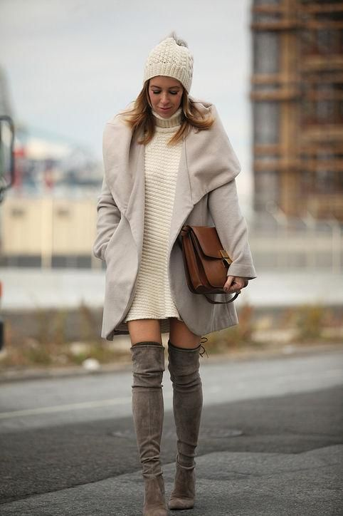 Sweater dresses look so cute with over-the-knee boots (among other styles) - click for fall and winter outfit ideas we love: