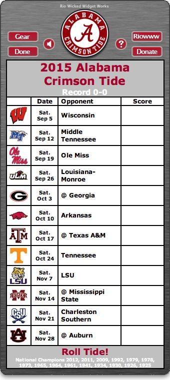 BACK OF WIDGET - Free 2015 Alabama Crimson Tide Football Schedule Widget - Roll Tide! - National Champions 2012, 2011, 2009, 1992, 1979, 1978, 1973, 1965, 1961, 1941, 1934, 1930, 1926, 1925   http://riowww.com/teamPages/Alabama_Crimson_Tide.htm