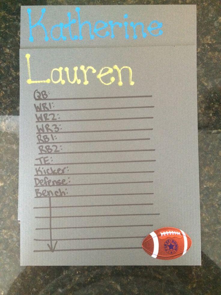 DIY Girls fantasy football draft sheets