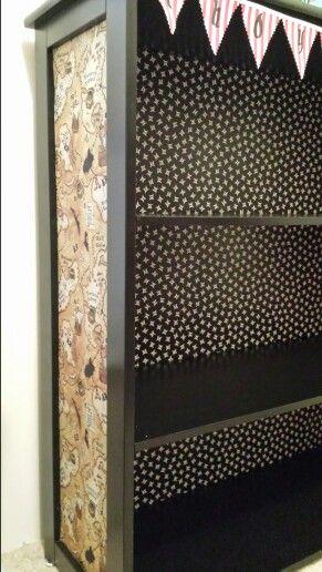 Refurbished Bookshelf Fabrics And Map Fabric On Pinterest